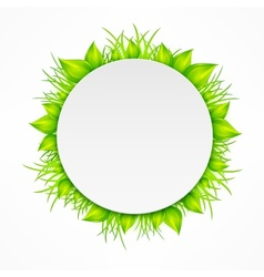 Round icon with green grass on white vector image