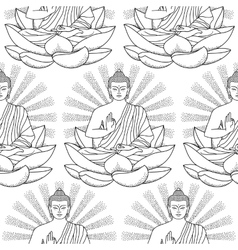 Seamless Pattern of Buddha and Lotus vector image vector image