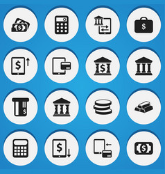 set of 16 editable finance icons includes symbols vector image vector image