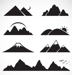 Set of mountain icons vector image
