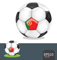 soccer ball portugal euro flag vector image vector image