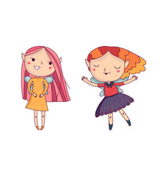 two fairy girls with little wings cartoon fantasy vector image vector image