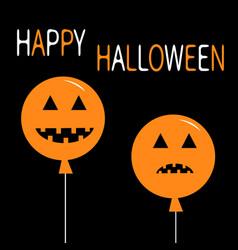 two pumpkin balloon set smiling sad face head vector image