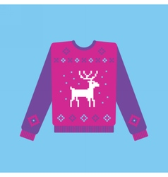 Ugly christmas sweater with deer pattern vector image vector image