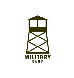 Watchtower of military camp icon vector
