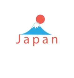 Word japan and mount fuji vector