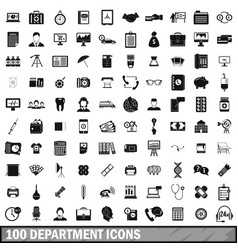 100 department icons set simple style vector