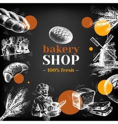 Vintage bakery sketch background Sketch hand drawn vector image