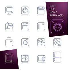Set icons home appliances vector