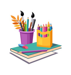 Notebook pencils and eraser set of school and vector