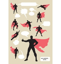 Male superhero silhouettes vector