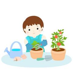 Boy planting tree cartoon vector