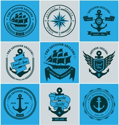 Collection of vintage nautical badges and labels vector