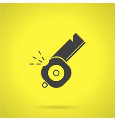 Black whistle flat icon vector
