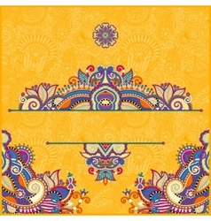 yellow invitation card with neat ethnic background vector image