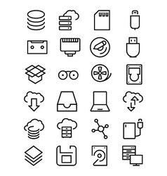 Data storage line icons 2 vector