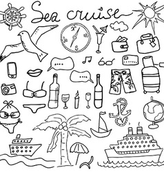 Hand drawn sketch sea cruise doodles of travel and vector