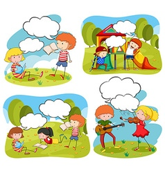 Four scenes of children doing activities in the vector image