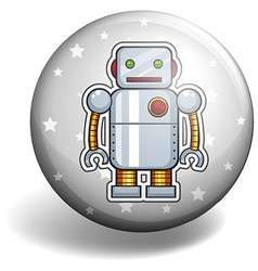 Tin robot on round badge vector