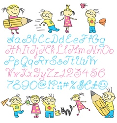 Vecrot children calligraphy letters with boy and g vector