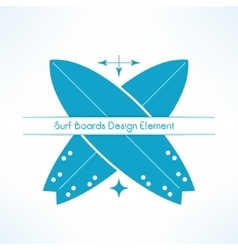 Crossed surfing boards with text line t vector