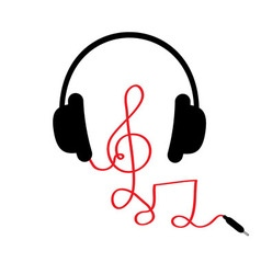 Headphones with treble clef note red cord and word vector