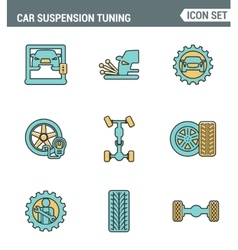 Icons line set premium quality of car suspension vector