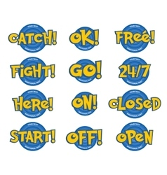 Phrases in a cartoon game style catch ok free vector
