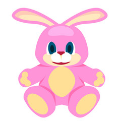 adorable pink big soft bunny isolated vector image vector image
