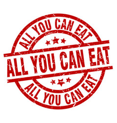All you can eat round red grunge stamp vector