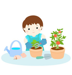 Boy planting tree cartoon vector