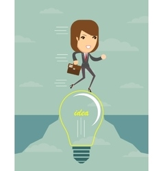 Businesswoman on a lightbulb cross an abyss vector image vector image