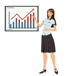 Businesswoman showing presentation vector