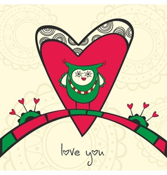 Card with owl in love and heart vector image vector image