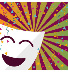 Carnival mask with confetti stars and streamers vector