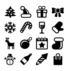 Christmas Icons Set on White Background vector image