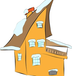 Cozy house in the snow vector image vector image