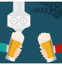 Craft beer hands holds glasses celebration vector