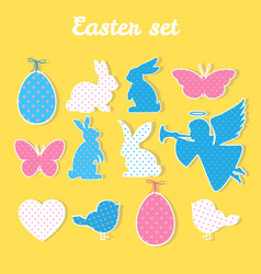 Easter set with angel egg butterfly heart vector