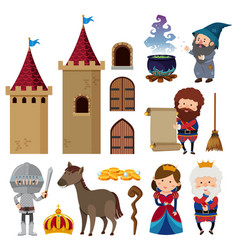 fairytale characters and castle towers vector image