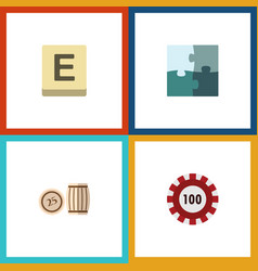 flat icon entertainment set of lottery mahjong vector image
