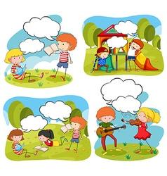 Four scenes of children doing activities in the vector