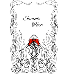 Frame made by long hair with big red bow vector image vector image