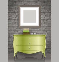 Green dresser and the picture vector