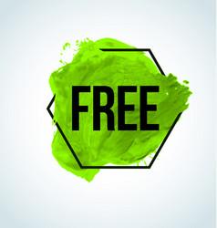Green watercolor free item label vector