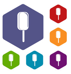 Ice cream icons set hexagon vector