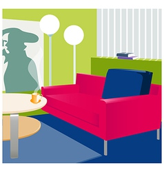 Interior floor-lamp sofa vector image vector image