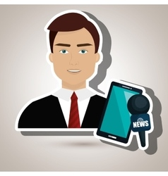 man news smartphone reportage vector image