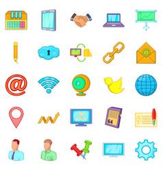 Nummary icons set cartoon style vector
