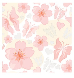 pattern - flower and butterfly vector image